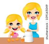little girl drinking healthy... | Shutterstock .eps vector #109165049