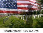 Stock photo great for fourth of july memorial day labour day or flag day grave stones in a row with a 109165295