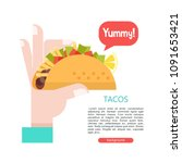 tacos in hand. mexican... | Shutterstock .eps vector #1091653421