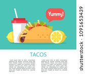 tacos. mexican delicious fast... | Shutterstock .eps vector #1091653439