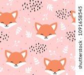cute fox seamless pattern  wolf ...   Shutterstock .eps vector #1091658545