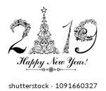 happy new year 2019  vintage... | Shutterstock .eps vector #1091660327