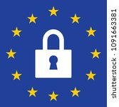 gdpr privacy regulation sign.... | Shutterstock .eps vector #1091663381