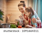 healthy food at home. happy... | Shutterstock . vector #1091664311