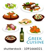 greek cuisine icon with... | Shutterstock .eps vector #1091666021
