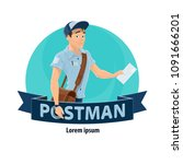 postman with mailbag and letter ... | Shutterstock .eps vector #1091666201