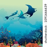 silhouette of mantas  freediver ... | Shutterstock .eps vector #1091666639