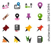 solid vector icon set  ... | Shutterstock .eps vector #1091673494