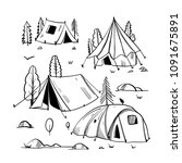 camping travel objects doodle... | Shutterstock .eps vector #1091675891