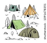 camping travel doodle vector... | Shutterstock .eps vector #1091678351