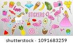 set of girls fashion cute... | Shutterstock .eps vector #1091683259