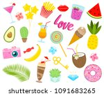 set of girls fashion cute... | Shutterstock .eps vector #1091683265
