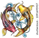 red fish and yellow fish | Shutterstock . vector #1091695937