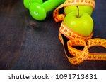 apple dumbbells and measuring...   Shutterstock . vector #1091713631