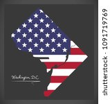 washington dc map with american ... | Shutterstock .eps vector #1091719769