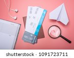 air tickets with passport and... | Shutterstock . vector #1091723711