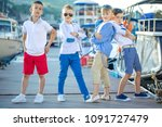 fashionable children by the sea  | Shutterstock . vector #1091727479