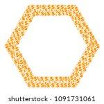 contour hexagon collage of... | Shutterstock .eps vector #1091731061