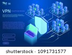 secure vpn connection concept.... | Shutterstock .eps vector #1091731577