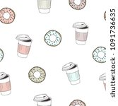 vector illustration. donuts and ... | Shutterstock .eps vector #1091736635