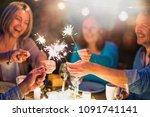 one summer evening  friends in... | Shutterstock . vector #1091741141