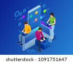 isometric mobile applications... | Shutterstock . vector #1091751647