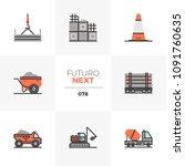modern flat icons set of heavy... | Shutterstock .eps vector #1091760635