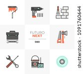 modern flat icons set of... | Shutterstock .eps vector #1091760644