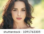 woman with long brunette hair...   Shutterstock . vector #1091763305