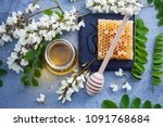 jar of acacia honey with a... | Shutterstock . vector #1091768684