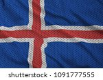 iceland flag printed on a... | Shutterstock . vector #1091777555