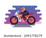 racer riding motorbike logo... | Shutterstock .eps vector #1091778179