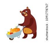 farmer bear and handcart with... | Shutterstock .eps vector #1091778767