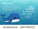 illustration world oceans day   ... | Shutterstock .eps vector #1091782211
