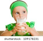 cute little girl drinking milk... | Shutterstock . vector #109178231