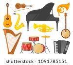 musical instruments  colorful... | Shutterstock .eps vector #1091785151