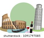 italian background with... | Shutterstock .eps vector #1091797085