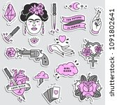 girl power quote. icon set... | Shutterstock .eps vector #1091802641