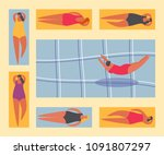 summer people on the beach.... | Shutterstock .eps vector #1091807297