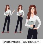 business woman holding... | Shutterstock .eps vector #1091808374