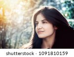 girl with perfect skin on a... | Shutterstock . vector #1091810159