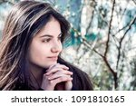 girl with perfect skin on a... | Shutterstock . vector #1091810165
