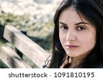 girl with perfect skin on a... | Shutterstock . vector #1091810195