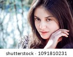 girl with perfect skin on a... | Shutterstock . vector #1091810231