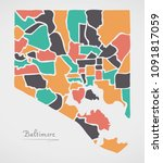 baltimore maryland map with... | Shutterstock .eps vector #1091817059