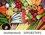 super food for a healthy diet... | Shutterstock . vector #1091827691