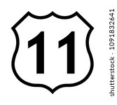 us route 11 sign  black and... | Shutterstock .eps vector #1091832641