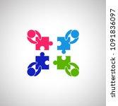 teamwork icon isolated on white ... | Shutterstock .eps vector #1091836097