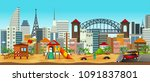 panorama of playground in urban ... | Shutterstock .eps vector #1091837801