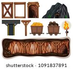 a set of mining element... | Shutterstock .eps vector #1091837891